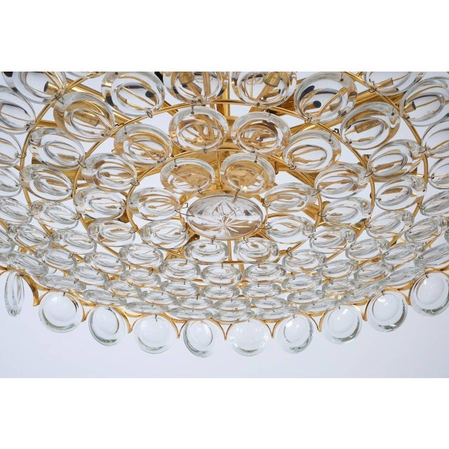 Palwa Gold Brass and Glass Large Chandelier Ceiling Lamp, 1960 For Sale - Image 9 of 10