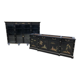 20th Century Asian Modern Saginaw China Cabinet/Sideboard Set - 2 Pieces For Sale