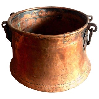 Late Victorian Hand-Hammered Copper Cauldron Pot For Sale