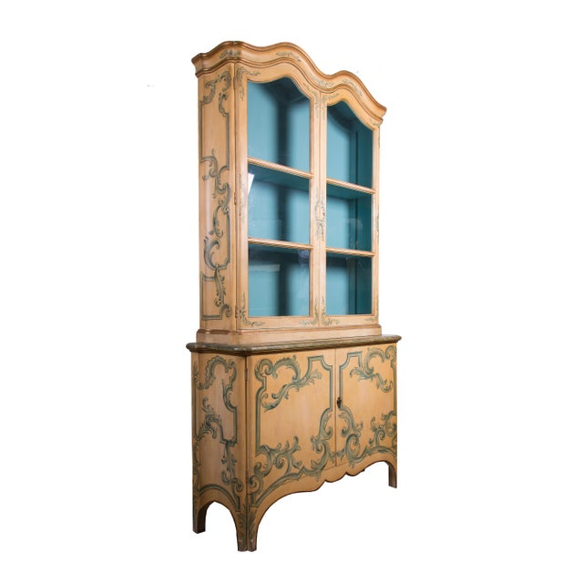Painted Italian Cabinet with Glazed Doors - Image 2 of 6
