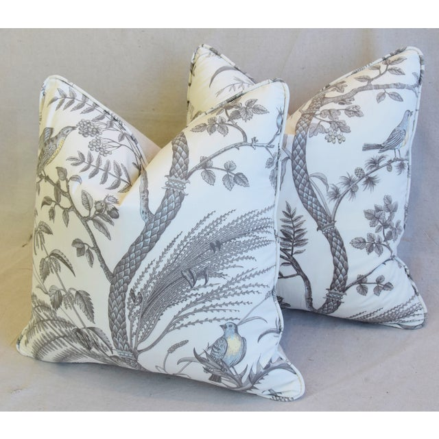 """Brunschwig & Fils Bird and Thistle Feather/Down Pillows 21"""" Square - Pair For Sale - Image 9 of 13"""