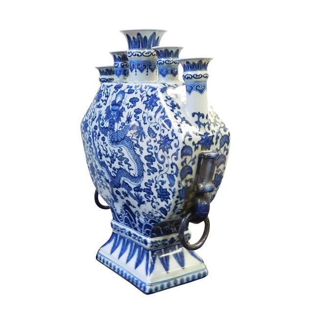 Blue & White Porcelain 5 Mouths Dragon Vase - Image 2 of 7