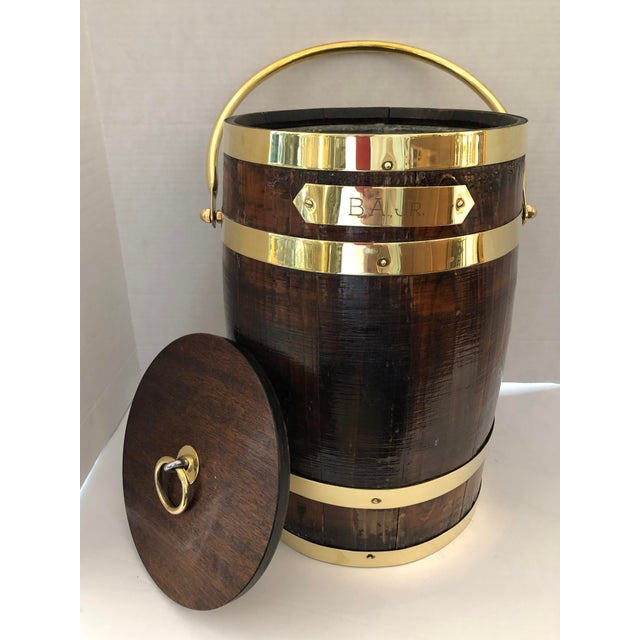 Campaign Antique Brass Banded & Wood Lidded Ice Cooler With Initials For Sale - Image 3 of 12