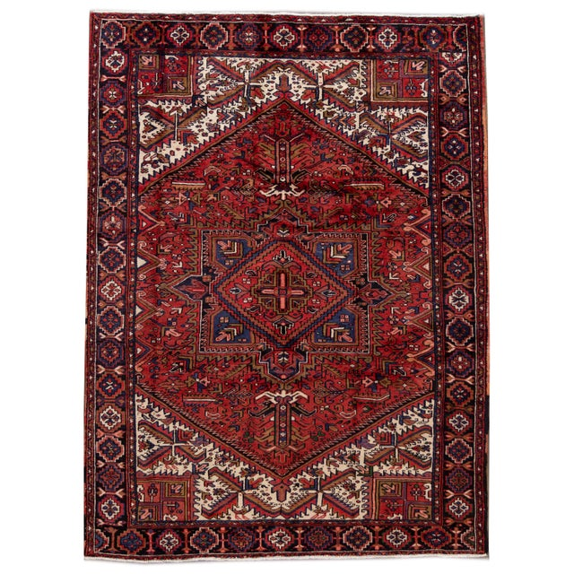 "Vintage Persian Heriz Handmade Wool Rug, 7'9"" X 10'3"" For Sale - Image 10 of 10"