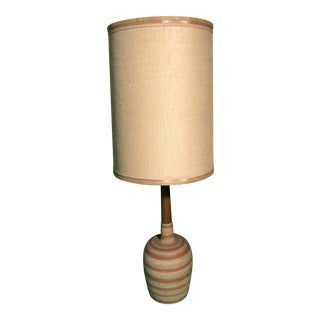 Mid-Century Retro Danish Table Lamp with Long Linen Shade For Sale