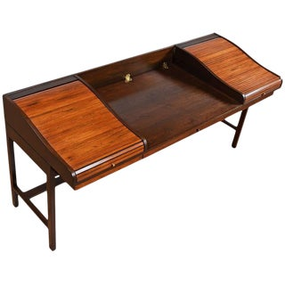 RESTORED Mid-Century Modern Edward Wormley for Dunbar Executive Rosewood Roll-Top Desk For Sale