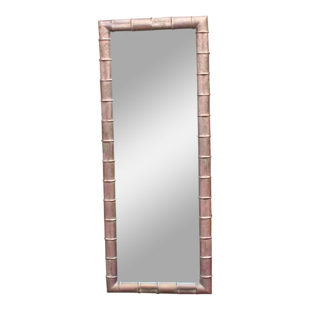 Mid-Century Modern Faux Bamboo Weathered Copper Rectangular Mirror For Sale