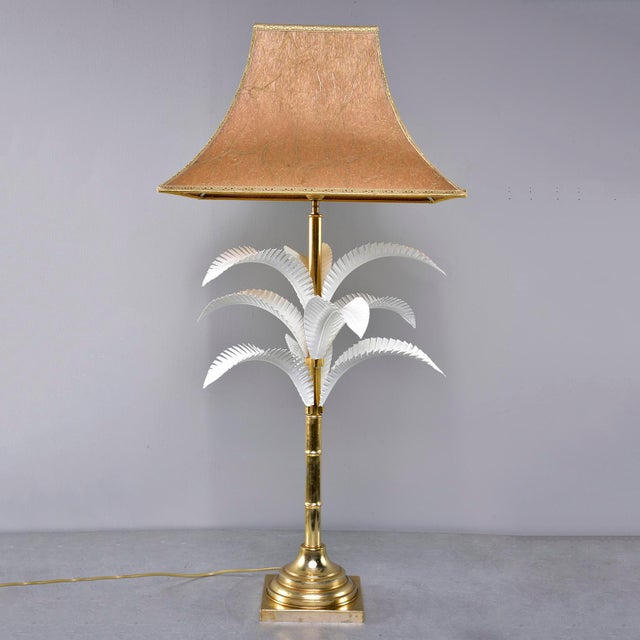 1970s Hollywood Regency Brass Lamp With Parchment Shade For Sale - Image 11 of 11
