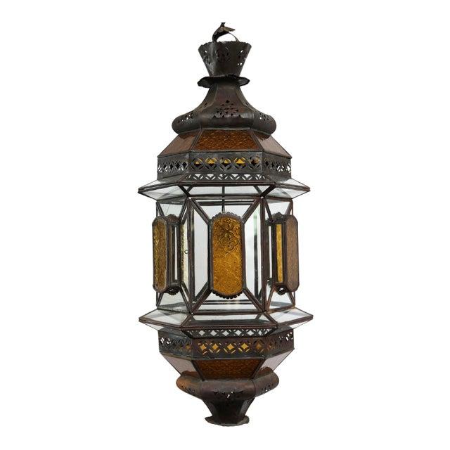 Moroccan Metal & Glass Lantern - Image 1 of 3