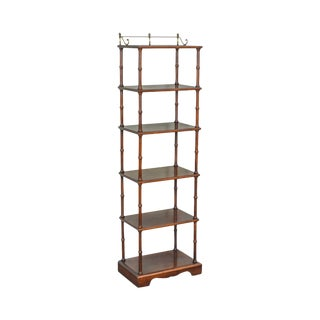 Faux Bamboo Cherry Wood 6 Tier Narrow Etagere W/ Brass Gallery