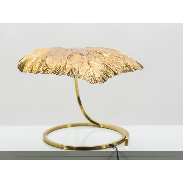 Brass Hollywood Regency Rhubarb Brass Table Lamp Tommaso Barbi, 1970s For Sale - Image 8 of 13