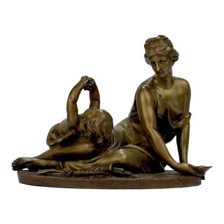 Antique 19th Century Gilt French Bronze of Venus & Cupid after Carrier-Belleuse For Sale