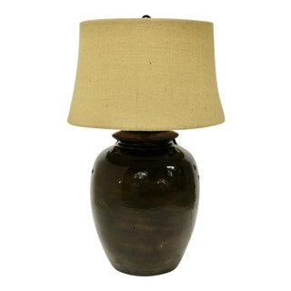 Pottery Barn Courtney Ceramic Table Lamp With Burlap Shade For Sale