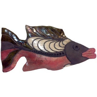 Raku Pottery Fish Sculpture For Sale
