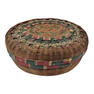 Antique Wicker Sewing Basket For Sale