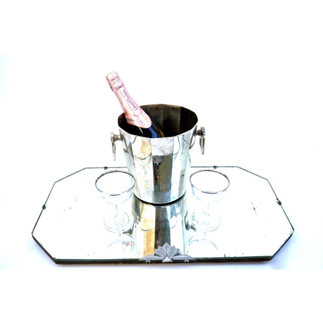Art Deco Silver Geometric Champagne Chiller & Stand - Image 9 of 10