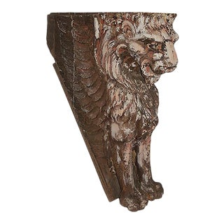 Late 19th Century Traditional Large Carved Wood Lion Ornament For Sale