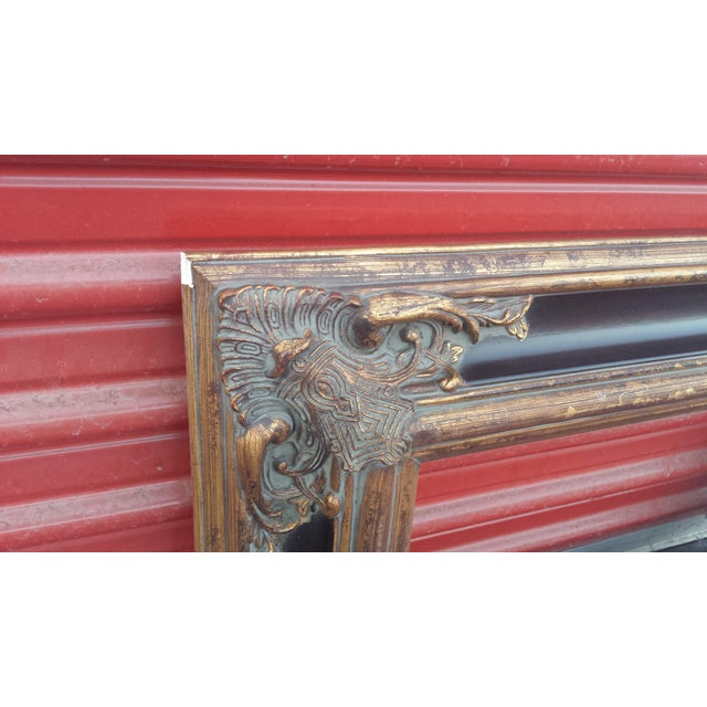 """Gold Ornate Spanish Baroque Dark & Antique Gold Picture Frame/Mirror Frame 8""""x16"""" For Sale - Image 8 of 12"""