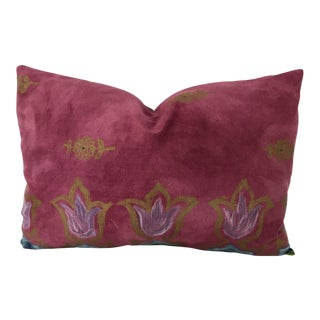 "Osborne & Little Fuchsia Fabric Newly Made Custom 20"" X 12"" Pillow For Sale"