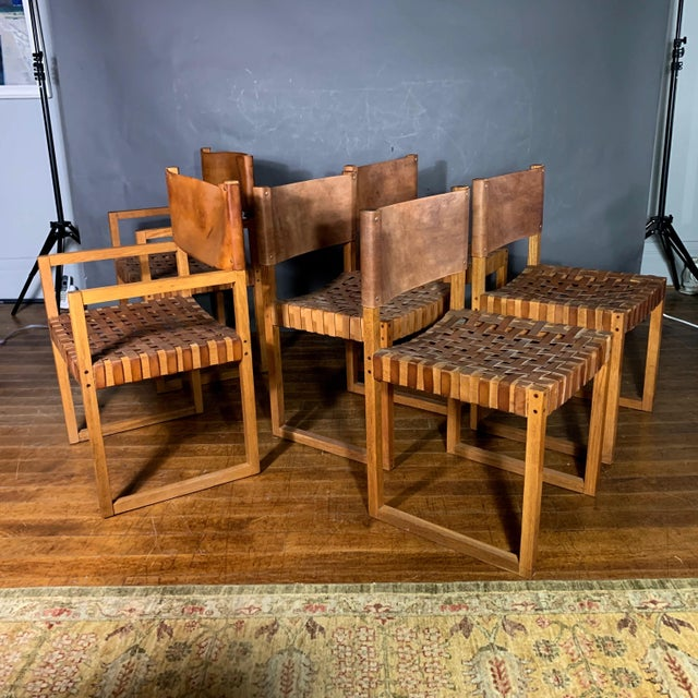 Set of Six Danish 1970 Woven Leather & Oak Dining Chairs For Sale - Image 11 of 11