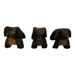 Vintage Mid Century Carved Wood Dog Figurines- Set of 3 For Sale