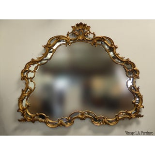 "63"" X 55"" Large Vintage French Louis XVI Rococo Wood Gold Gilt Wall Mantle Mirror Made in Italy Preview"