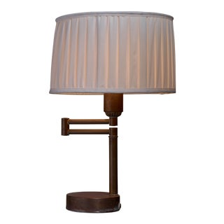 Walter Von Nessen Swing-Arm Table Lamp in Brass, American, 1950s For Sale
