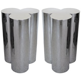 1960's Stainless Steel Pedestals by Mastercraft-a Pair For Sale