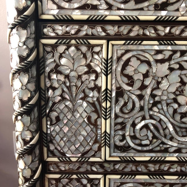 Brown Moorish Syrian Mother of Pearl Inlay Chest With Drawers For Sale - Image 8 of 11
