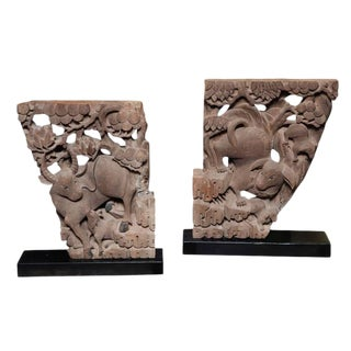 Pair of Mid-19th Century Carved Temple Corbels With Animals and Their Young For Sale