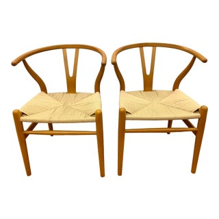 Mid Century Wishbone Chairs, - a Pair For Sale