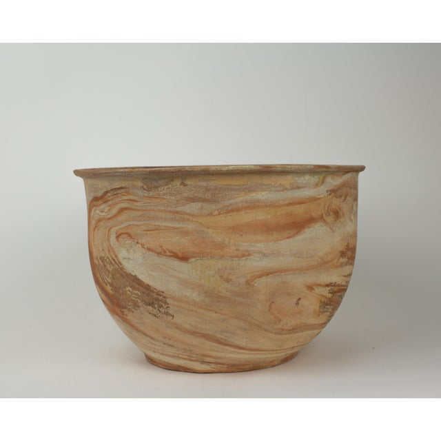 Ceramic Large Vintage Orange Terra Cotta Swirl Decorative Bowl Planter For Sale - Image 7 of 13