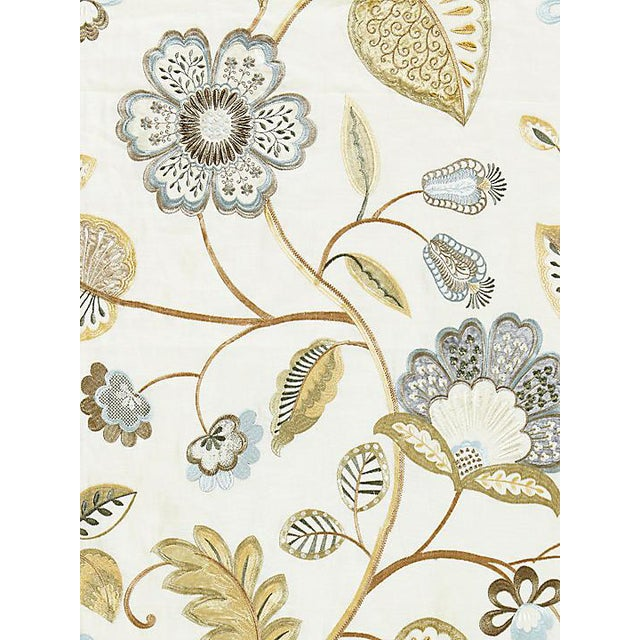 Scalamandre Willowood Embroidery, Summer Sage Fabric For Sale