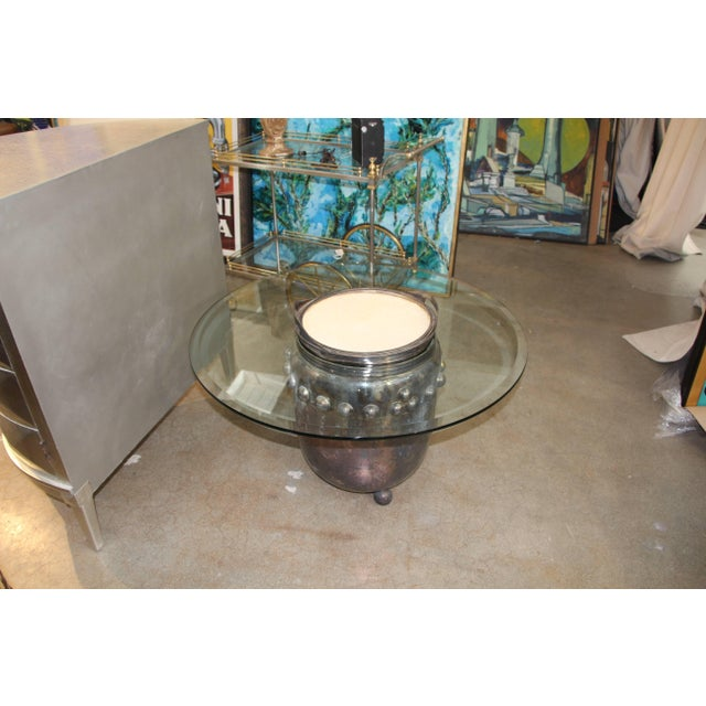 Asian Asian Silver Plated Drum Table For Sale - Image 3 of 5