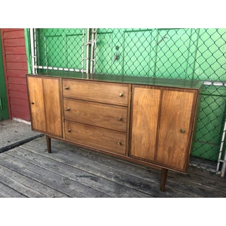1960s Mid Century Credenza by Stanley With Brass Pulls Preview