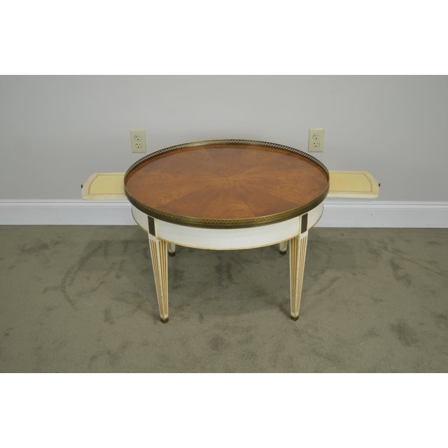 Hollywood Regency Baker Vintage Regency Directoire Style Round Painted Bouillotte Coffee Table For Sale - Image 3 of 13