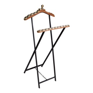 Mid-Century Modern French Wood Marquetry and Metal Men's Valet Stand, Coat Stand For Sale