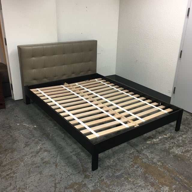 Contemporary West Elm Low Grid Leather Queen Sized Platform Bed For Sale - Image 3 of 11
