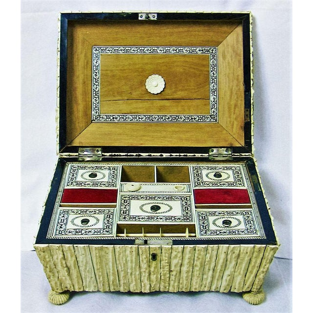 19c Anglo Indian Vizagapatam Stag Antler Horn Sewing Box - Exceptional For Sale - Image 4 of 11
