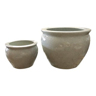 White Crackled Glaze Chinese Jardinieres, a Pair For Sale