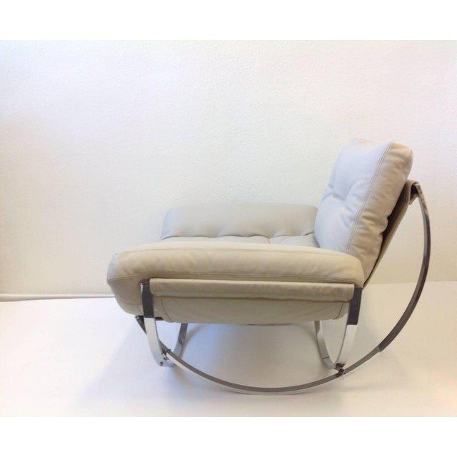 Italian Polish Stainless Steel and Leather Lounge Chair and Ottoman by Leonart Bender for Charlton Co. For Sale - Image 11 of 13
