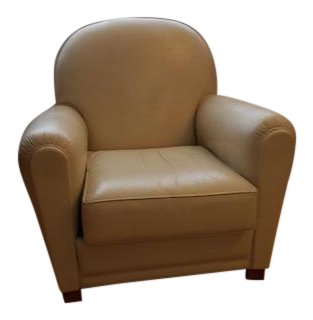White Leather Grange Club Chair