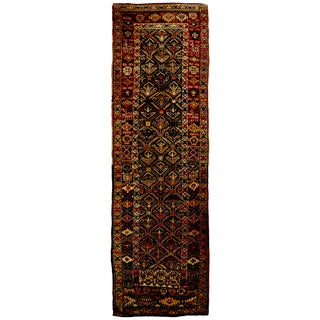 Antique Shirvan Red and Beige Geometric Wool Runner - 3′2″ × 10′5″ For Sale