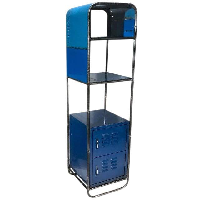 Blue Reclaimed Steel Shelf For Sale