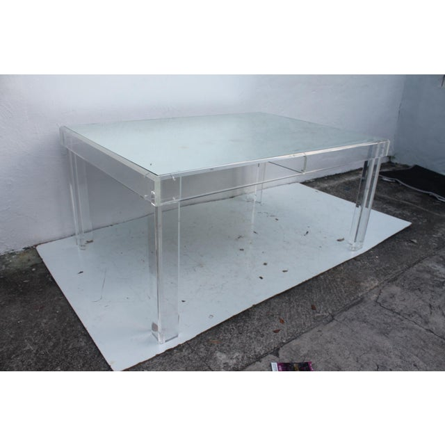 Mid-Century Modern VJJ 1978 Signed Lucite Dining Table For Sale - Image 3 of 11