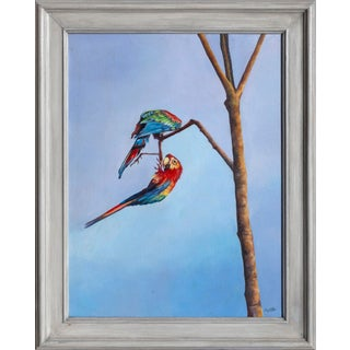 """""""Lovely Birds"""", Painting of Two Scarlet Macaw Parrots For Sale"""