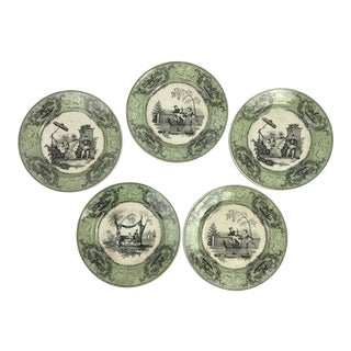 French Chinoiserie Transferware Plates, S/5 For Sale