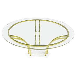 Elegant Brass and Carrara Marble Round Coffee Table For Sale