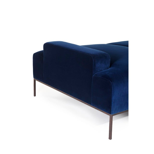 Not Yet Made - Made To Order Velvet Channel Tufted Wood Wenge Base Stiletto Daybed For Sale - Image 5 of 6
