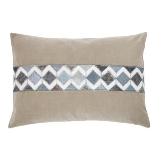 "Modern Gray and Taupe Velvet ""Lucas"" Pillow - 14x20"" For Sale"